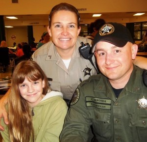 Students at Robert Smalls Intermediate / Middle brought their parents to lunch on Thursday, January 24. Pictured is student Maggie Holmes with her parents Chelsea and Chad Seronka.