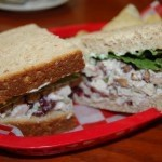 Cranberry and pecan chicken salad on wheatberry bread.
