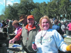 Happy attendees at last year's St. Peter's Oyster Roast & Microbrew Festival in Live Oak Park.