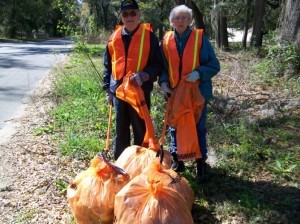 """Frank and Victoria Winters helped kick off the Great American Clean-Up in Beaufort County. The couple relocated to Beaufort in November and is celebrating 60 years of marriage. They walk on Johnny Morral Circle everyday for exercise and were amazed at the amount of trash and debris in the area. Instead of complaining, they decided to do something about it. In two days the couple picked up 42 bags of trash, moved two large televisions, and one big truck tire to the edge of the road for pickup and disposal. """"Now that's love,"""" exclaimed Veronica Miller, Keep Beaufort County Beautiful coordinator. """"Love for each other and love for the environment"""", she said."""