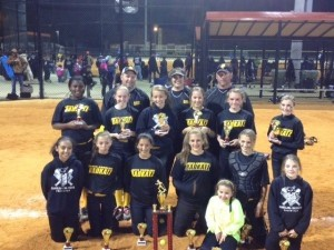 The 12-under Badkatz girls softball team came in first place in their season opening tournament, the World Fastpitch Connection Hope for Early Spring Opener in Barnwell, SC, on Saturday, March 9, 2013.