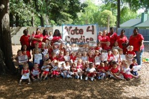 """All the students and staff at Hobbit Hill Preschool in Shell Point dressed as red-and-white """"Candi Canes"""" to show their support for """"American Idol"""" candidate Candice Glover. Candice's mother is a former Hobbit Hill employee and maintains strong ties to the school."""