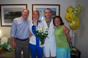 Beaufort Memorial Hospital nurse Geneva Baxley was presented with the DAISY Award for Extraordinary Nurses last week in a surprise ceremony at the hospital. The national tribute is reserved for Registered Nurses who go above and beyond the call of duty. Baxley's father, Mal Hyman, left, her husband ER physician Luke Baxley and her mother-in-law Kathy Baxley were on hand to share the event with her.
