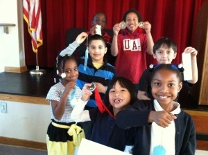 Lady's Island Elementary Science fair winners, Brionna Swinton, Addie Warren, Regan Hill, Billy Tate, Dominick Brown , Tray'Von Day and Stephen Holguin smile with their awards. Dominick was the overall winner of the fair. (Not pictured Nash Mills.)