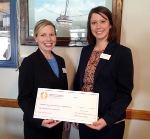 TCL Nursing Instructor Stephanie Lawson (left) and TCL Foundation Vice Chair Sarah Reed accept a $50,000 check from the Community Foundation of Lowcountry.