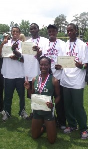 State Champions Darrian Chaplin, Tony Winston, Desmond Howard and Nathan Parker of the 4 x400m Relay, and hurdler Kaila Smith.