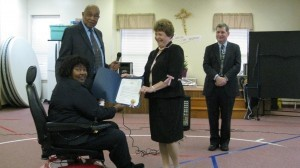 April was officially proclaimed as Parkinson's Disease Awareness Month in Port Royal and Beaufort. Pictured here, Port Royal Mayor Sam Murray (standing left) presents the proclamation to local resident Irene Hicks (seated left), Cindy Carr of the Parkinson's Action Network and Dr. Paul Mazzeo, board certified neurologist of Coastal Neurology. The proclamations were made at the Parkinson's Support Group meeting on April 4, where Dr. Mazzeo was the featured speaker. For more information, contact Rose at 843-252-3001 or e-mail rewing@alcco.com.