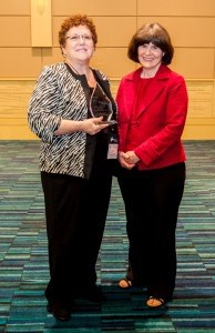 Beaufort Memorial executive Pat Foulger (left) is presented with the Lewis W. Blackman Patient Safety Champion Award by Blackman's mother, Helen Haskell.