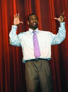 Kardeem Allen of Beaufort signs during a program at the SC School for the Deaf and the Blind.