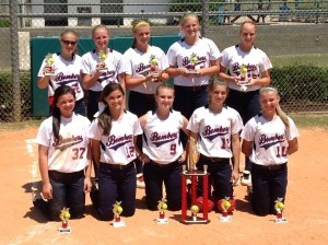This past weekend the Beaufort Bombers 14U took second place in the WFC Annual Memorial Day Fastpitch Classic in Summerville. Front row, from left: Emily Cook, Caroline O'Hara, Madison Powell, Bricen Riley, Savannah Mullen Back row, from left: Anna Grace Waters, Mary Claire Sumner, Krislynn Coolong, Lillian Sumner and Michaux Gee.
