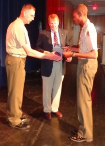 """On April 23, the Gov. Paul Hamilton Chapter of the Sons of the American Revolution presented the SAR JROTC Bronze Medal to Naval Cadet Petty Officer 1st Class Dylan Davis of Colleton County High School in Walterboro. At a similar ceremony at Battery Creek High School on April 26, the SAR Bronze Medal was presented to Marine Cadet Lt. Col. Wendell Roberson, seen at left. The medal is approved by the United States Army, Navy, Marine Corps and the Air Force, and endeavors to foster the principle of """"citizen-soldier"""" exemplified by the Minutemen.  Recipients are selected for a high degree of merit with respect to leadership, qualities, military bearing and general excellence by the commanding officer of the JROTC unit."""