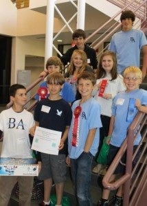 Congratulations to Ms. Ambrose's nine Beaufort Academy students who entered four projects in a statewide engineering competition.  It was the first annual 4-H engineering event sponsored by Clemson Extension.  Pictured: Ashton Bell, Nathaniel Keenan, Logan Statler, Daniel Owen, William Tumlin, Gracie Guest, Cady Wilson, Nicky Cenci, and Mitchell Russell.