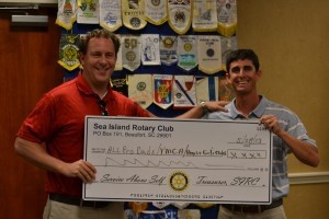 Pictured, from left to right: Michael Bostwick, CEO YMCA Beaufort County and Rion Salley, President of the Sea Island Rotary Club.