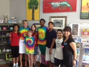 Students from Lady's Island Elementary visited five local galleries in downtown Beaufort. They met local artists and asked questions to enhance their appreciation of different art mediums. They plan to make this an annual event. Pictured above is Brittany Linton, second grade teacher Charlotte DiOrio, Kate Holland, Nadia Townsend, Burak Henderson, Stephen Holguin and Artist Mary Thibault.