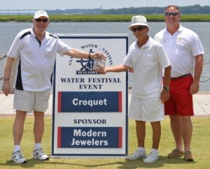 Croquet Winners Tony Cuculic and Don Burrell with Commodore Dan.
