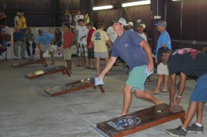 The popular Cornhole Tournament was moved indoors to The Shed in Port Royal due to the rain on Saturday morning, July 13. Three dozen teams — with some from as far away as North Carolina — competed, with Beaufort teams emerging victorious.