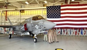 Pilots check out of the F-35B Lightnings on display Tuesday in the VMFAT-501's hangar