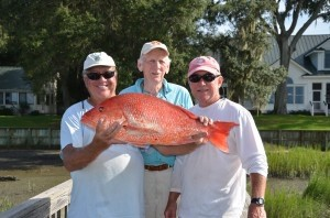 First snapper of the season on My Time Out caught by Sam Chesnutt along with mates Captain Ralph Worrell and Captain Frank Gibson.