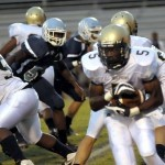Battery Creek's #5 carries the ball during the first half of the game.
