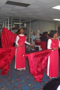 Dancers at the Love House Community Center dedication.