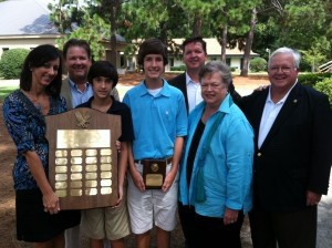 Pictured, left to right are Heidi Richards, Warren Richards, Daniel Richards, 2013 Recipient Cain Richards, Clark Robinson, Betsey Robinson, and Bill Robinson.