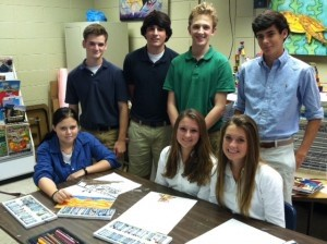 The Beaufort Academy upper school studio art class donated the painting, Lowcountry Life, to Penn Center for the Sam Doyle benefit which raised money for the Penn Center emerging artist program. Pictured left to right, back row: Jake Ingram, Michael Webb, Walker Floyd, Charles Aimar. Front row: Anna Crenshaw, Mary Alice Strohmeyer and Cali Blocker.