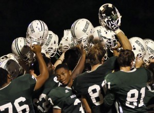 Post-game celebration after the BHS Eagles defeated Bluffton, 35-27.