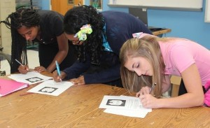 Battery Creek High School participated in the nationwide Gun Safety Awareness Day on October 15. Shown signing the Pledge are Shelly Houge, Christian Carter and Jasmine Middleton.