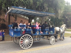 Bridges Prep students take a carriage ride to learn about history.