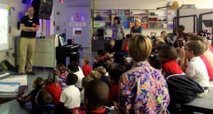 """Kevin Kurtz, author of  """"Day in the Salt Marsh"""", """"Day in the Deep"""", and """"Day in the Mountain,"""" visited Lady's Island Elementary School last week. He did a book talk with the students and encouraged them to write.  This visit was a kick off for River of Words."""
