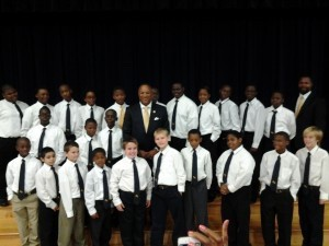 Students from Whale Branch Elementary School and Whale Branch Middle School were recently inducted into the Gentlemen's and Ladies Club. Founded by Dr. Stephen and Angela Peters of the nationally known Peters Group, The Gentlemen's Club and Ladies Club are designed to provide activities that lead students through the values, beliefs, strategies, and techniques needed to foster a positive school climate and culture. Pictured above is Dr. Stephen Peters, founder of the Gentlemen's Club, with the newly inducted students.