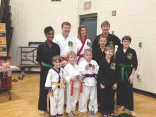 On October 5, nine members of Club Karate and their instructor attended the Sun Fun Karate Tournament in Myrtle Beach. They earned seven first places, four second places and six third places. For more information about Club Karate, call 252-7283. Front row, left to right: Alaina Knoles, Sawyer Ellenberger, Isaiah Sismilich, Thomas Angelo and Aiden Knoles. Back row: Adrienne Brown, Kurt Ellenberger, Jessica Lehnert, Catsie Castrechino and Head Instructor Chuck Elias.