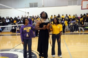 """Whale Branch High played Bethune-Bowman for the 2013 Homecoming Game and proudly won 46-6. At the pep rally before the game, the school crowned the """"Miss Bethune-Bowman"""", SRO Allen, pictured above. This year's Homecoming Court and winners were: Freshman Prince: Trevon Grier; Freshman Princess: Mayra Garcia; Sophomore Prince: Derrick Duggans; Sophomore Princess: Tazoria Walker; Junior Prince: Ezekial Carter; Junior Princess: Hope Christian; Homecoming King: Byron Lloyd; Homecoming Queen: Akaila Wilson."""