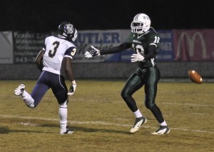Beaufort High School wide receiver Da'Quan Cason, right, after being held by Blythewood's Dominique Lemon.