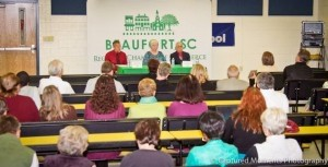 The Beaufort Regional Chamber of Commerce held a Port Royal Town Council Candidate Forum at Port Royal Elementary School on Monday, Nov. 4. All three candidates were there with about 60 people in attendance in the audience.