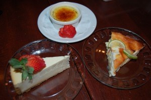 A trio of desserts: cheesecake, creme brulee, Key Lime pie.
