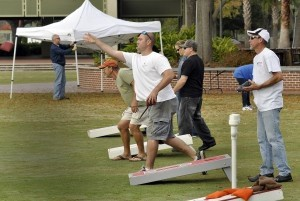 About 20, two-man teams took advantage of unseasonably warm weather to participate in the corn hole tournament.