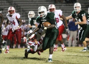 The Eagles recently defeated region rival Fort Dorchester, 24-21 This win gives the Eagles a 7-3 record overall and 2-2 in the region. Above: Eric Blakely runs over a Fort Dorchester Patriot. Blakely ran for more than 170 yards and one touchdown.