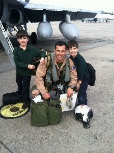 Jake and Ryan McClune welcomed home their dad, Major Stephen McClune, last Thursday, Nov. 21 at Marine Corps Air Station Beaufort. His squadron is VMFA-122 and they went on a five-week exercise to the desert in Twenty-Nine Palms, California. Photo by wife and mom, Cheryl McClune.
