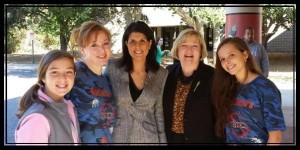 """Beaufort High School Drama Director LaRaine Fess met recently with SC Governor Nikki Haley and State Representative Shannon Erickson to discuss BHS's anti-bully play, """"When You See Something, Say Something.""""  Pictured from left are Bridges Preparatory School student Ellie Payne, LaRaine Fess, Nikki Haley, Shannon Erickson, and BHS student actor Kaitlin Boulware."""