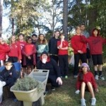 On Monday, November 4, the eighth grade students at St. Peter's Catholic School joined in a campus clean up.  They spent a few hours cleaning up trash and other yard debris.