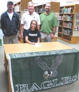 Michelle is backed by Coach Jim Cook, Coach Doug Plank and Coach Scott Rast.