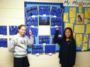 """Dutch painter Vincent van Gogh was fascinated by the challenge of painting at night.  He painted """"Starry Night Over the Rhone"""" in his city of Arles, France. Holy Trinity Classical Christian School art students painted their own nightscapes. Fifth graders Katherine Hurtt and Grace Strawn display their handiwork."""