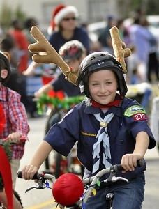 Riding in last year's Christmas Parade.