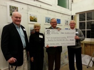 The Port Royal Sound Foundation held its Maritime Center Exhibits Kick Off on November 9 at Lemon Island with almost 200 people in attendance.  Residents of Callawassie Island presented the Foundation a check for $75,000 to become the first community to reach a naming opportunity for the soon-to-be-renovated Maritime Center.  Pictured in the photo are (left to right):  Tom Cameron - major supporter from Callawassie Island who presented an additional check that evening; Judy Almand - Port Royal Sound Foundation Executive Director; Mike Long - Chairman of the Board of Trustees for the Port Royal Sound Foundation; and Joe Tatarski - President of the Callawassie Island POA Board.