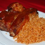 Barbecue ribs and red rice