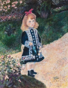 """""""Girl with a Watering Can"""" by Ethie Morrison as part of BAA's Masterpiece Masquerade exhibit."""