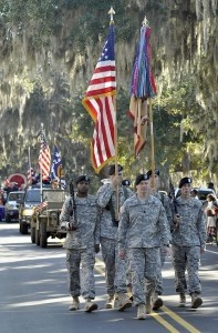 The Veteran's Day parade in November honors the important military presence in our community. Photo by Bob Sofaly.
