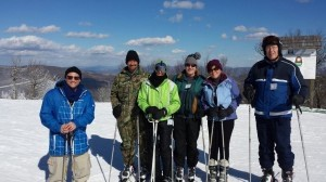 Members from St. John's Lutheran Church on Lady's Island took a ski trip to Sugar Mountain in North Carolina on Friday, Jan. 17. They had 19 kids and 15 adults and had a fantastic time on the slopes. Seen at left at the summit of the mountain, from left to right:  Pastor Shannon Mullen, David Gay, Candace Fritz, Perry Dukes, Nancy Dukes and Paul Mannheim.