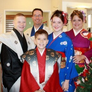 The Slade family in Okinawa, Japan, during the holidays in 2012. From left: Caleb, Slade, Gabriel, Kaeley and Tiffany.